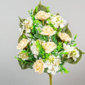 Rózsa,hortenzia csokor 12v. M45cm 12db/#