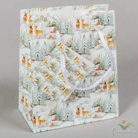 Papír tasak szarvasok erdőben 11x14cm