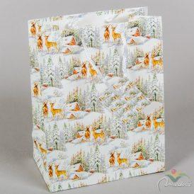 Papír tasak szarvasok erdőben 18x23cm