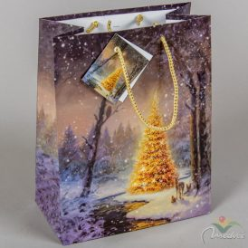 Papír tasak glitteres arany fenyőfa 18x23cm