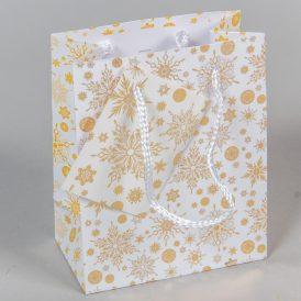 Papír tasak arany hópihék 11x14cm
