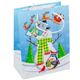 Papír tasak hóember pingvinnel 18x23cm