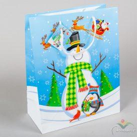 Papír tasak hóember pingvinnel 26x32 cm