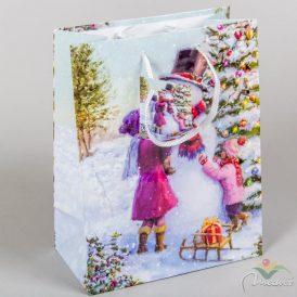 Papír tasak hóember gyerekkel 18x23 cm
