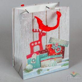 Ajándék tasak rénszarvas ajándékkal 18*23cm