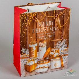 Papír tasak ajándék doboz mintával barna 18x23cm