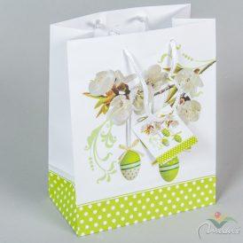 Papír tasak zöld tojásos mintával 18x23cm