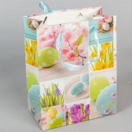 Papír tasak tojás és virág mintás 18x23cm