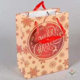 Papírtasak Merry Christmas bordó hópihés 18x23cm