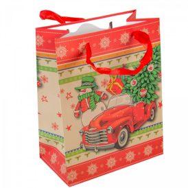 Papírtasak hóember, piros kocsi 18x23cm