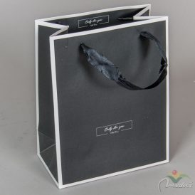 Papír tasak fekete, fehér kontúros 18*23cm