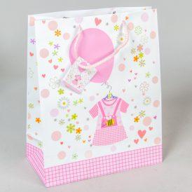 Ajándéktasak  rózsaszín lufis 26x32cm