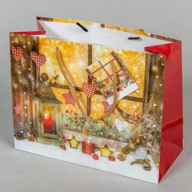 Ajándéktasak karácsonyi mintás 23x18cm