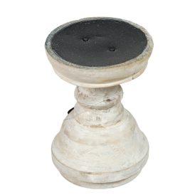 Fa gyertyatartó mosott fehér M14cm