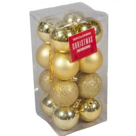 Műanyag gömb arany 50mm 16db-os