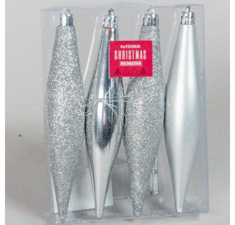 Akasztós műanyag jégcsap dísz ezüst 150mm 4db-os
