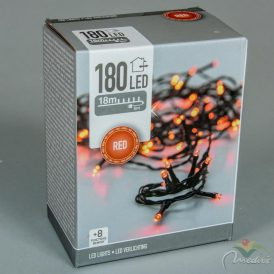 180 LED-es fényfüzér programos adapteres piros