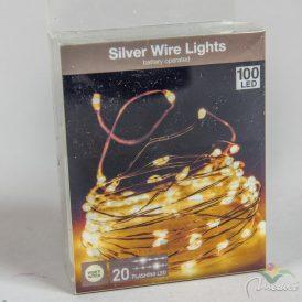 100 LED-os ezüst drótkábeles flash fényfüzér elemes (elem nélkül) meleg