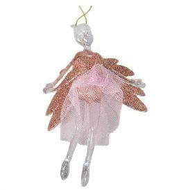 Akasztós balerina glitteres szárnnyal 12cm