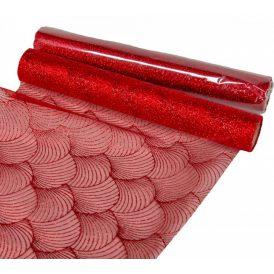 Glitteres organza tekercs piros 28x300cm