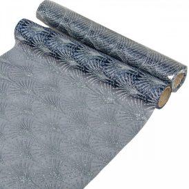 Glitteres organza tekercs sötét kék 28x300cm