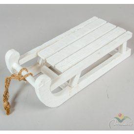Fa szánkó kötéllel fehér 30x14x11cm