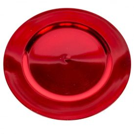 Műanyag tányér fényes piros D33cm