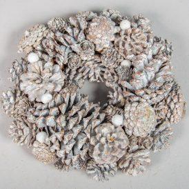 Tobozos, bogyós koszorú fehér D24cm