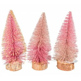 Glitteres fenyő fa talppal rózsaszín M25cm