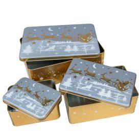 Szarvas mintás fém doboz szett  14,20,26cm 3db-os