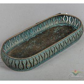 Áttört peremű fém tálca antik arany 32x13,5x5cm