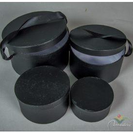 Papír doboz kerek szalaggal fekete 4db-os szett D22,19,16,13cm