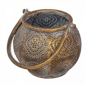 Áttört mintás akasztós fém gyertyatartó M12cm