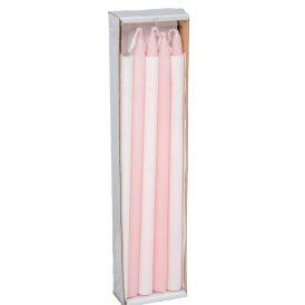 Lakkozott ceruza gyertya rózsaszín 230x10mm 8db/csom (db ár)