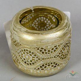 Mintás fém teamécsestartó üveg betéttel arany D9cm M7,5cm