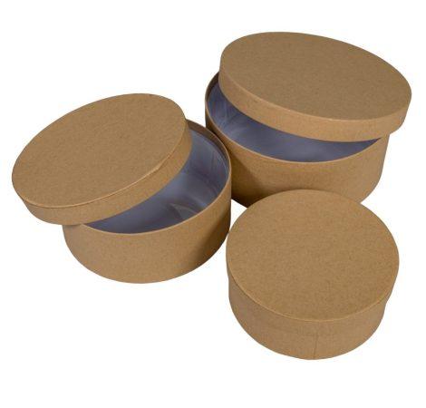 Papí rdoboz kerek kraft  D20,17,15cm 3db-os