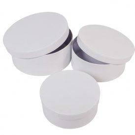 Papír doboz kerek bélelt fehér D20,17,15cm  3db-os