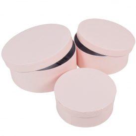 Papír doboz kerek bélelt pink D20,17,15cm  3db-os szett