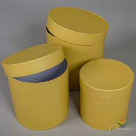 Papír doboz kerek homok D20,17,15cm  3db-os szett