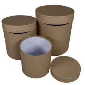 Papír doboz magas kerek barna D20,17,15cm 3db-os szett