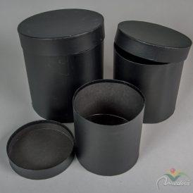 Papír doboz magas, kerek fekete 3db-os szett D20,18,15cm