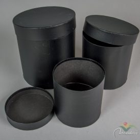 Papír doboz magas, kerek fekete  D20,18,15cm 3db-os
