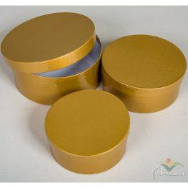 Papír doboz kerek arany D20,17,15cm  3db-os