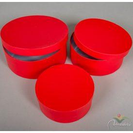 Papír doboz kerek bélelt piros 3db-os szett D20,17,15cm
