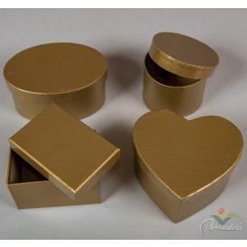 Papír doboz arany 8-11cm 4db-os szett