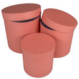 Papír doboz magas rózsaszín csíkos D20,18,15cm 3db-os