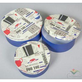 Papír doboz kerek  kék London mintás D20,17,15cm  3 db-os