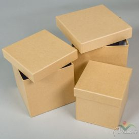 Papír doboz kocka kraft 16,14,12cm 3db-os