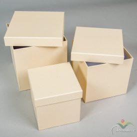 Papír doboz kocka krém pöttyös 16,14,12cm 3db-os