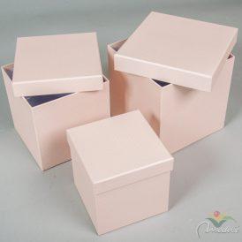 Papír doboz kocka halvány rószaszín pöttyös 16,14,12cm 3db-os